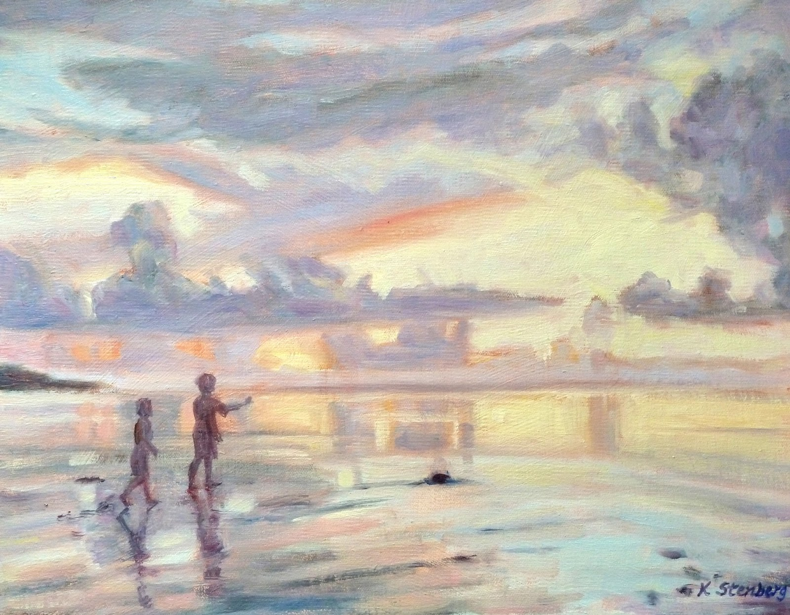 Kids At Sunset Beach Oil On Linen 11 X 14 Sold