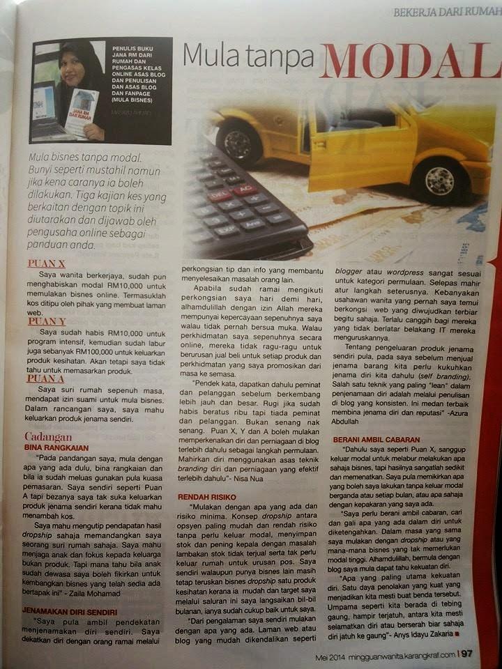 Penulis Di Media, majalah Mingguan Wanita Mei 2014
