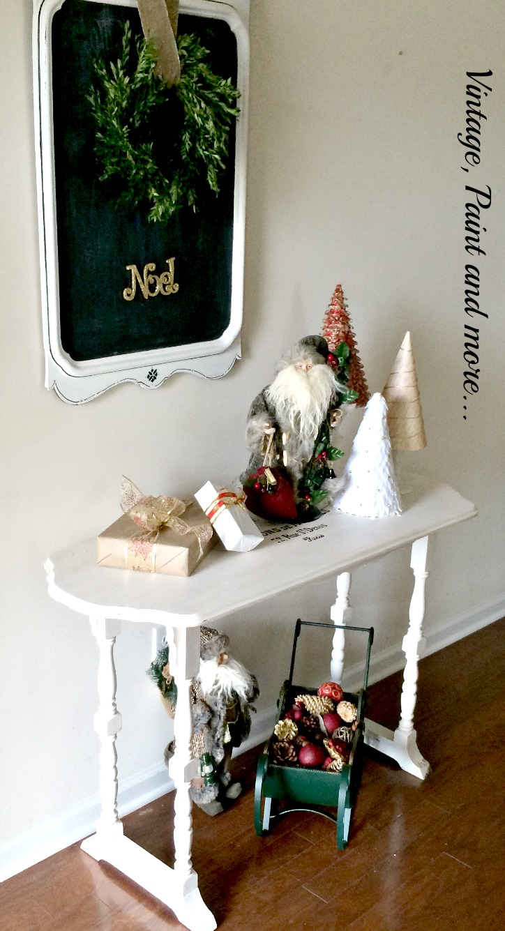 Vintage, Paint and more... vintage Christmas decor with diy vintage mirror chalkboard, diy boxwood wreath, diy cone trees and old world Santa