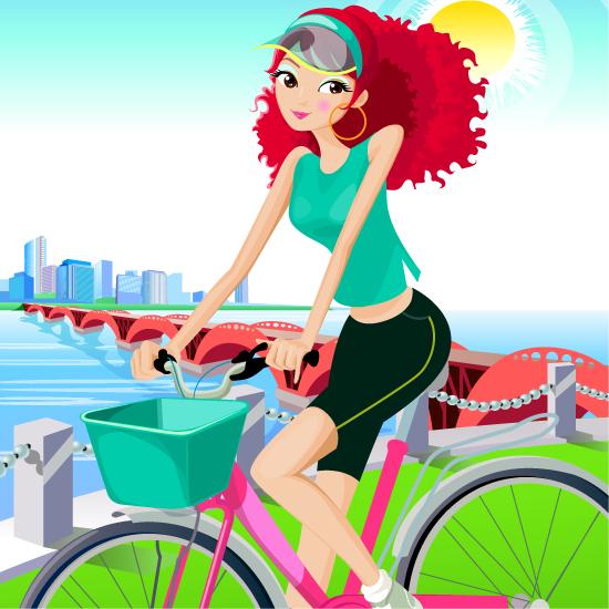 Mujer pelirroja en bicicleta