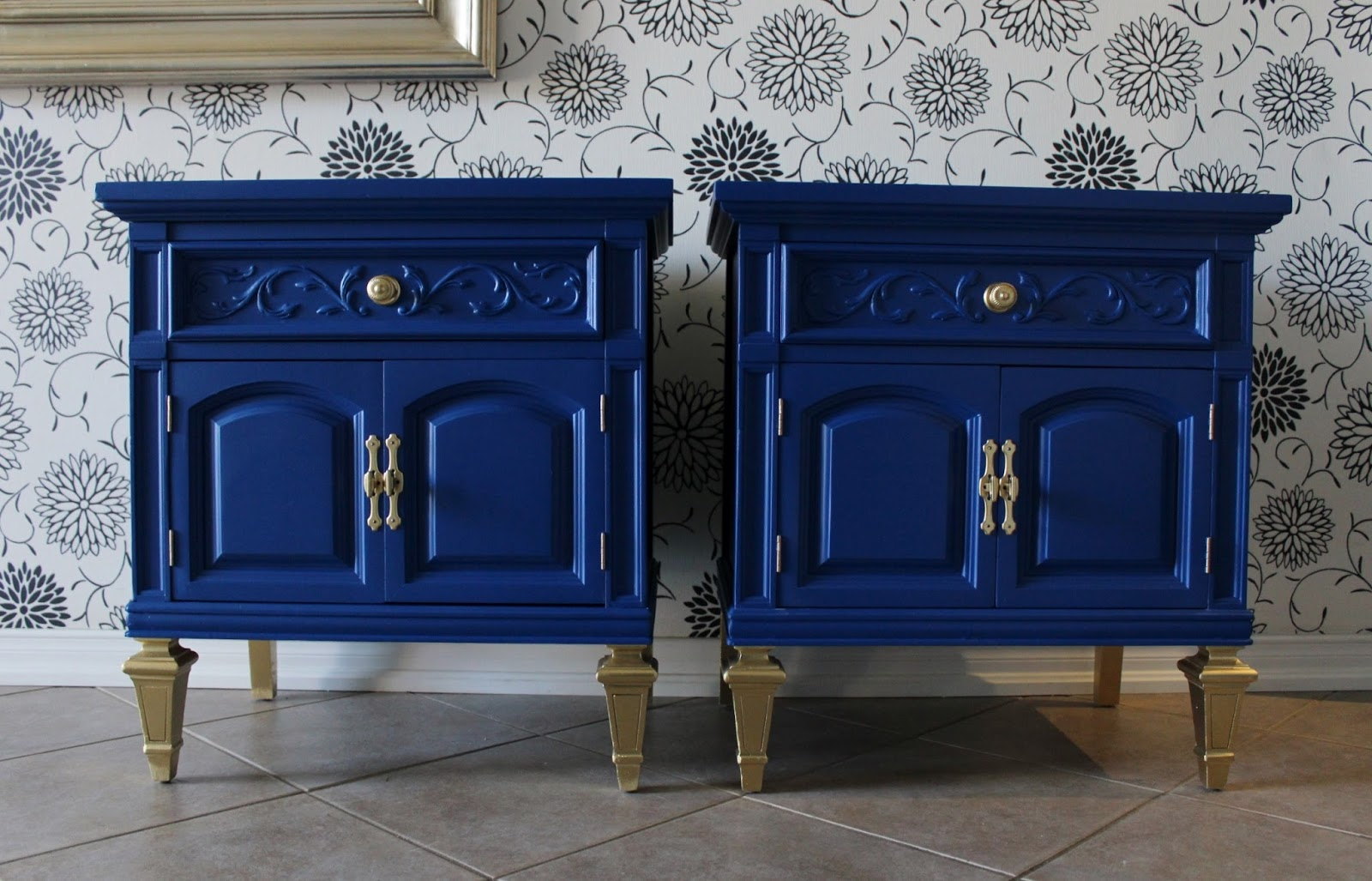 Re Tiqued By Rae Bond Cobalt And Gold Nightstands