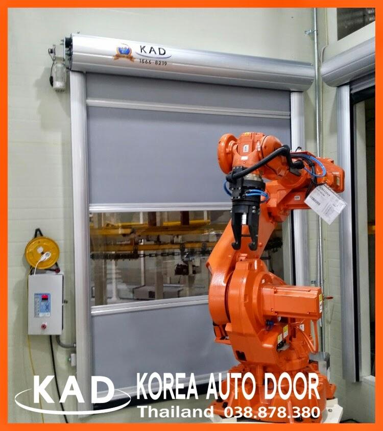 high speed door with robot arm in factory
