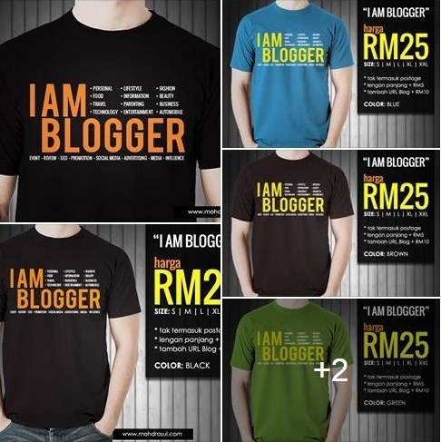 Tempahan T-Shirt I Am Blogger