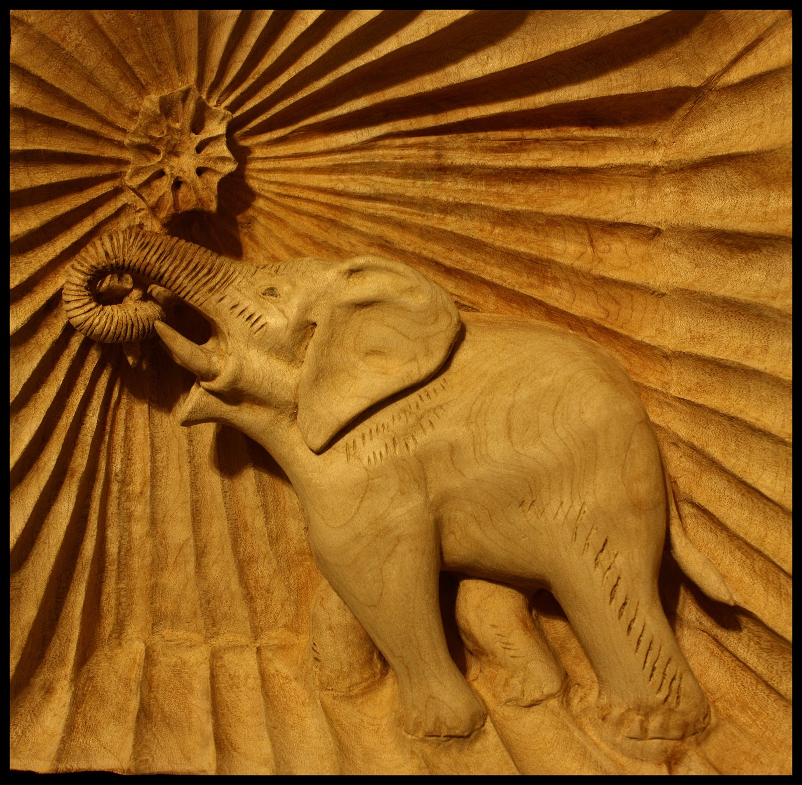My first deep relief carving elephant in frame
