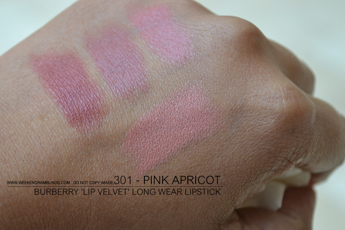 Burberry beauty makeup matte lip velvet lon wear lipstick darker indian skin blog swatches 301 pink apricot