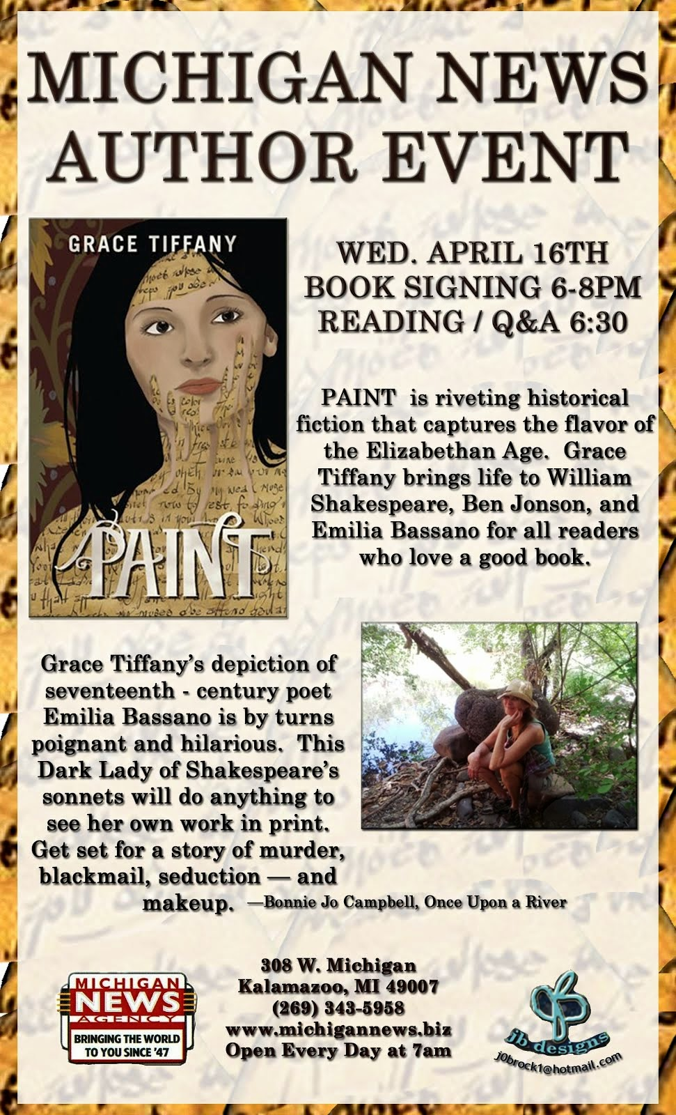 Wed. April 16th Reading, 6:30 p.m.