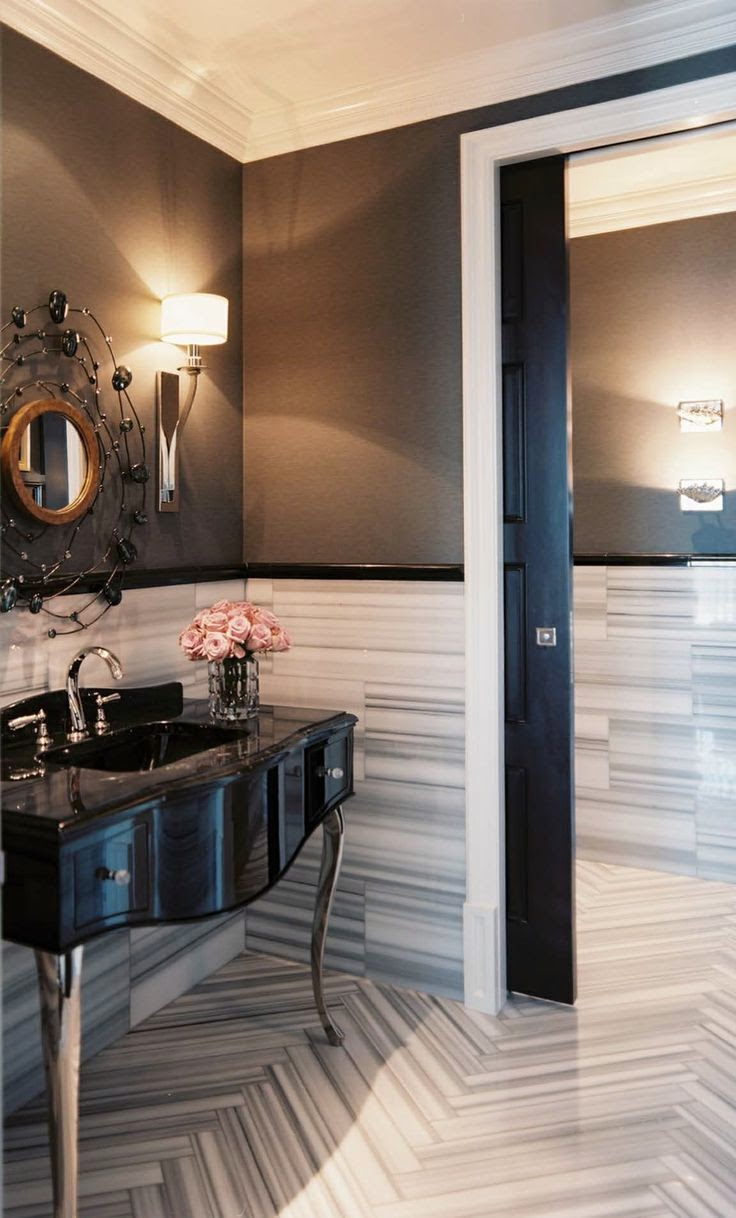 brown and white modern chevron tile bathroom