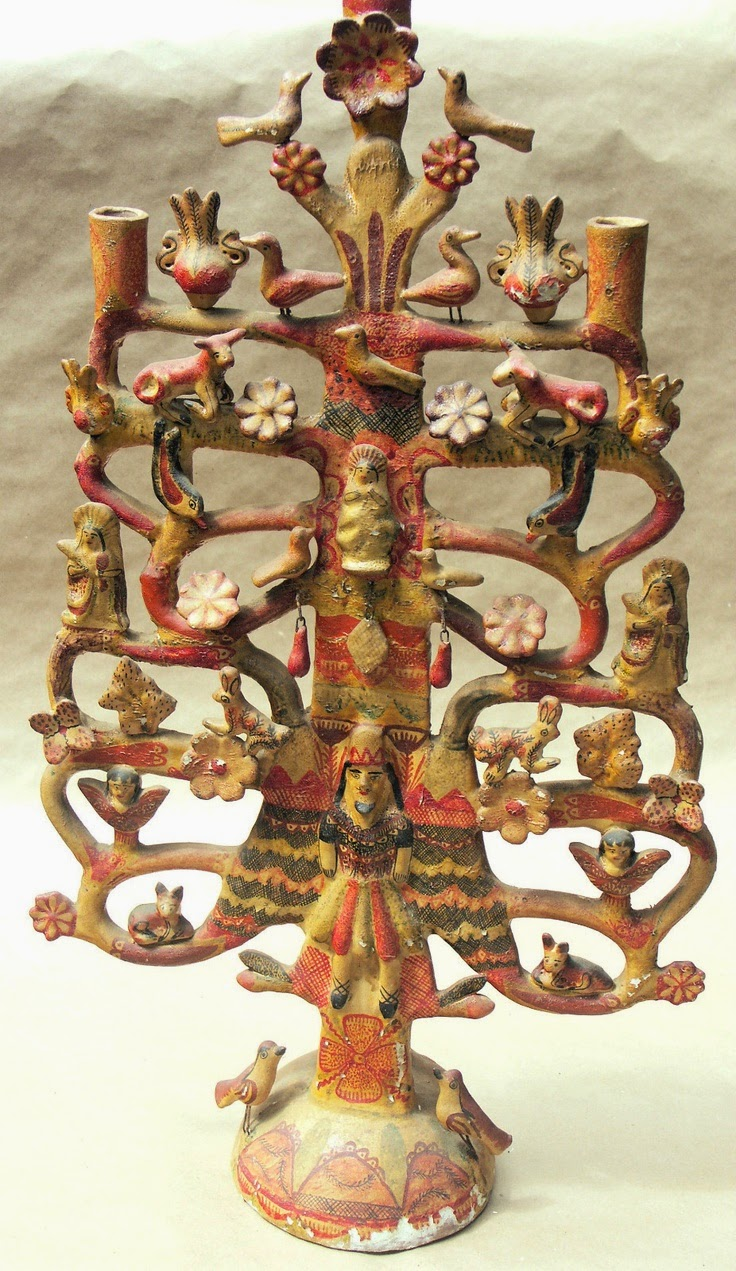 Fleachic flea market savvy a vintage tree of life candle holder credited to aurelio flores of izucar de matamoros puebla mexico arubaitofo Image collections