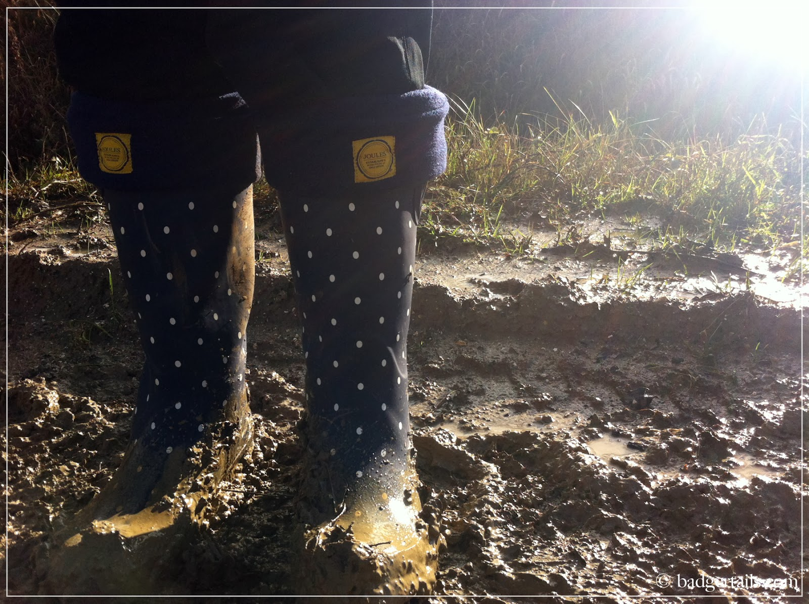 muddy joules wellies on countryside walk