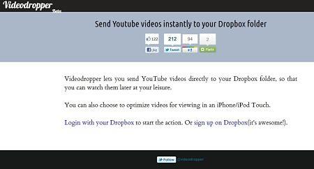 Videodropper YouTube DropBox