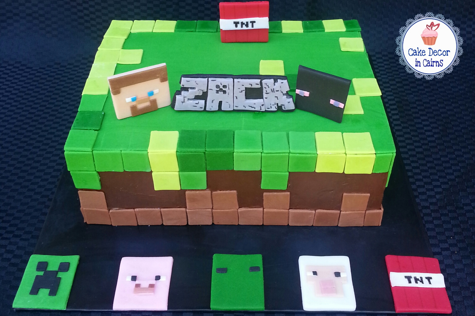 Minecraft Cake Chocolate Ganache Fondant accents Steve Zombie Creeper TNT Pig Sheep Cupcake Toppers on Cake