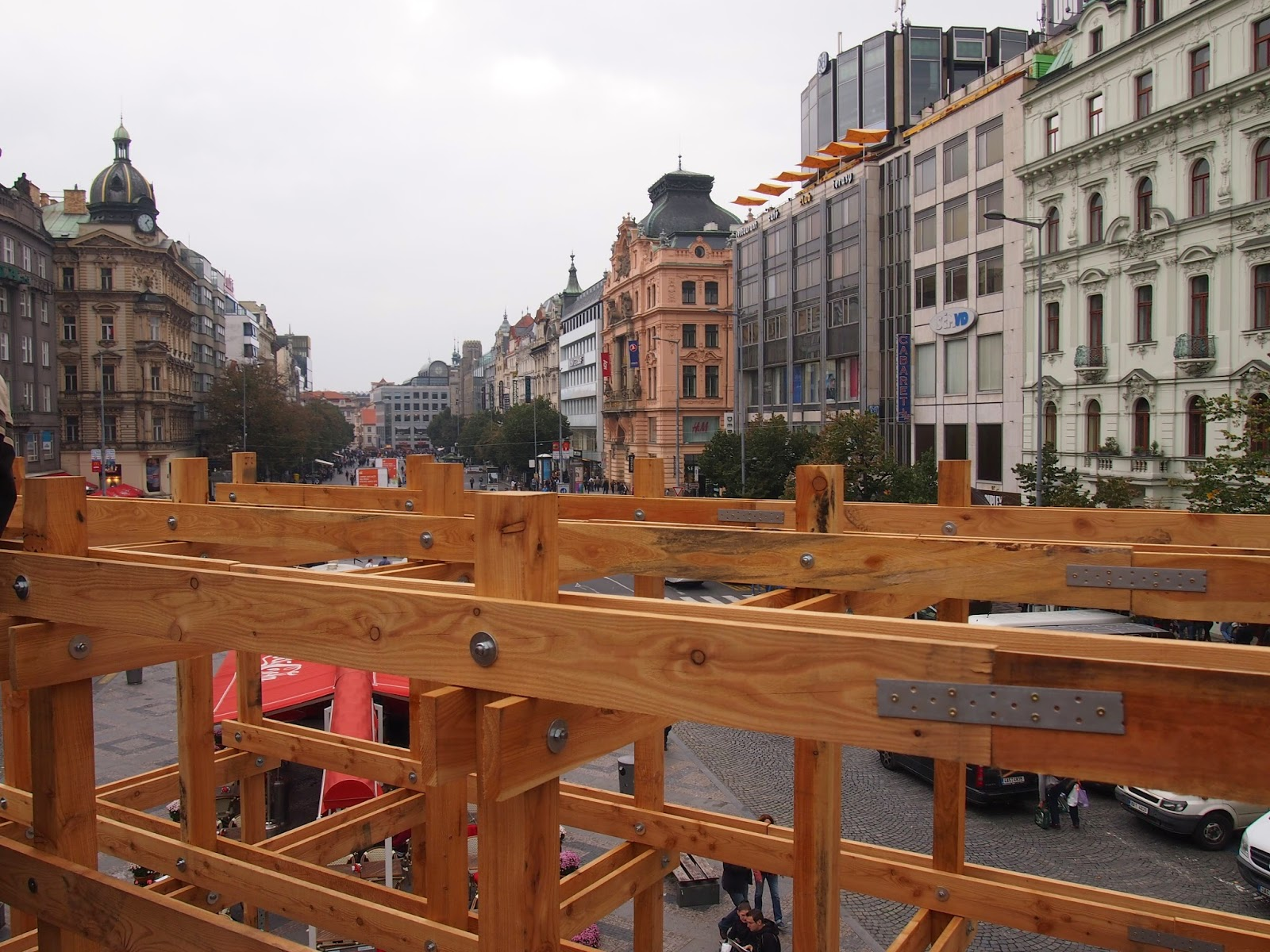 At the top of the giant wooden cube in Prague