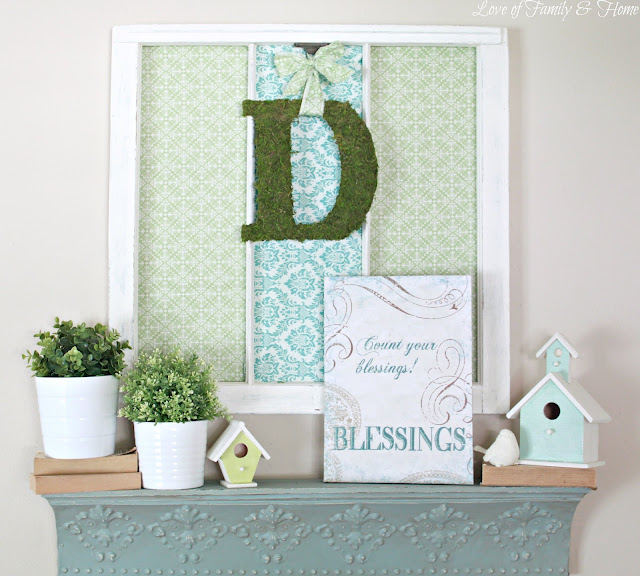 DIY moss covered monogram