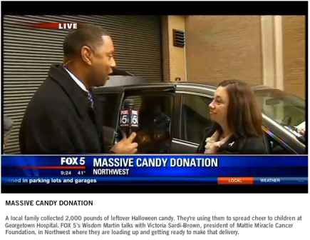 Mattie Miracle's Interview on Fox 5 -- 3rd Annual Candy Drive is a 2000 pound success!