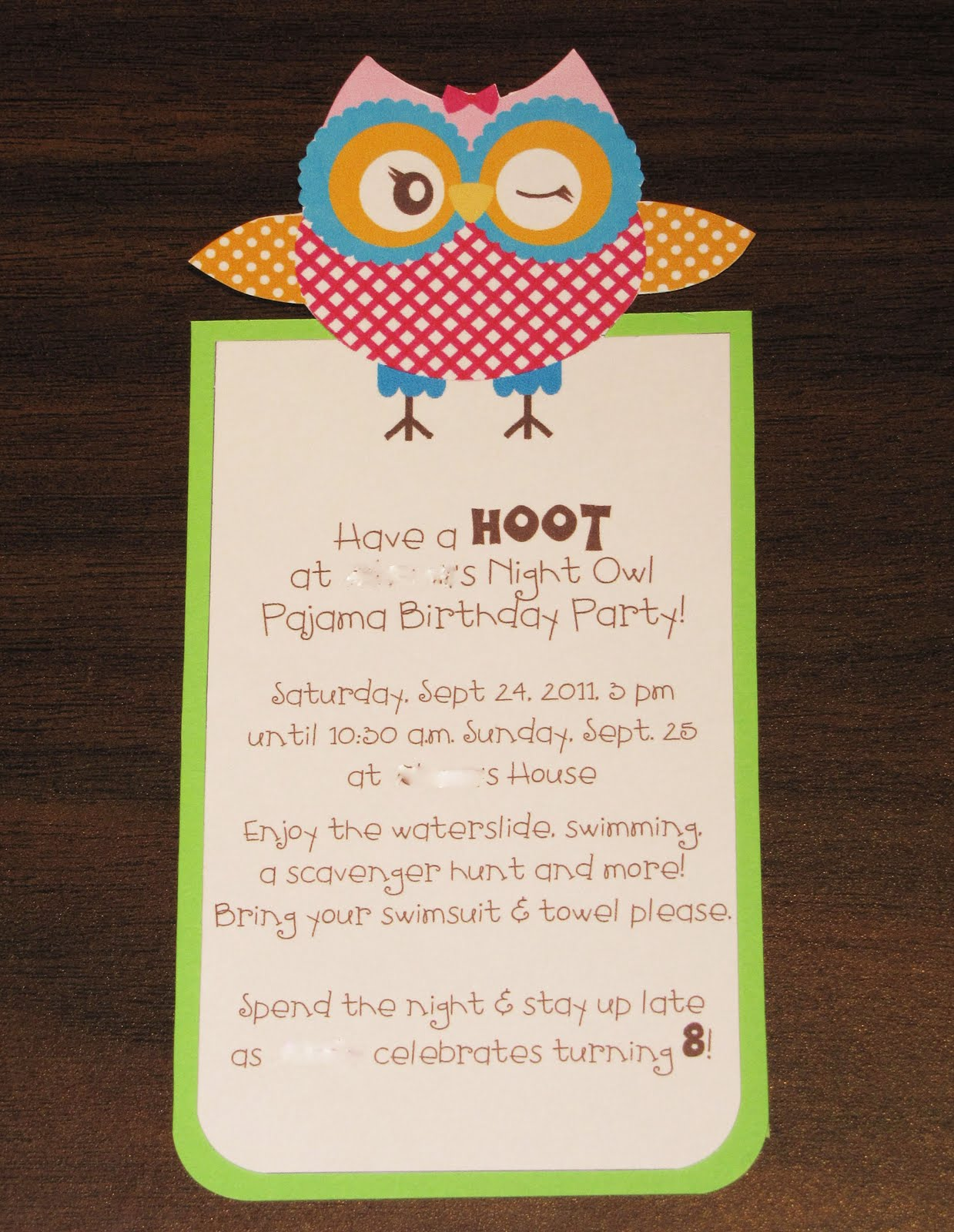 Jen\'s Happy Place: Owl-themed Birthday Party - The Invitation