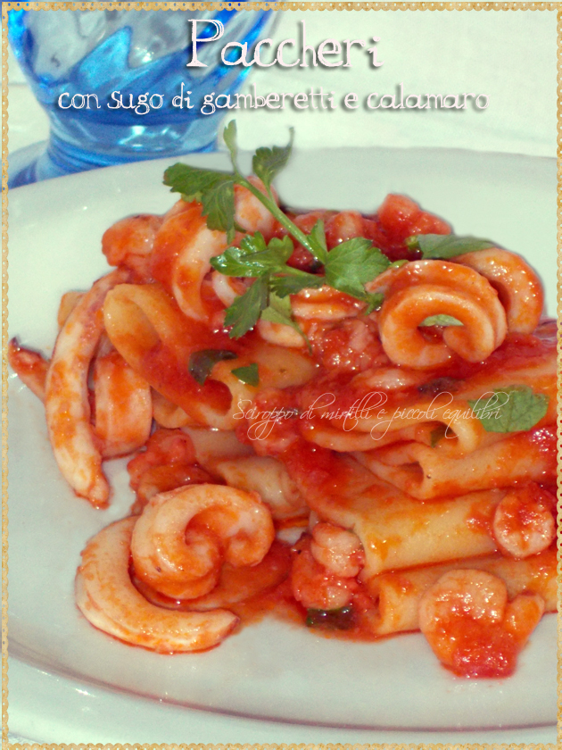 Paccheri con sugo di gamberetti e calamaro