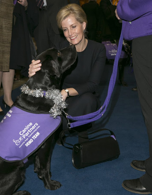 Sophie, Countess of Wessex attends the Canine Partners 25th anniversary Carol service at Guards Chapel