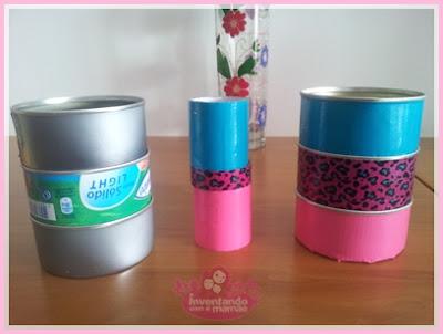 Porta-trecos feitos com latas de atum
