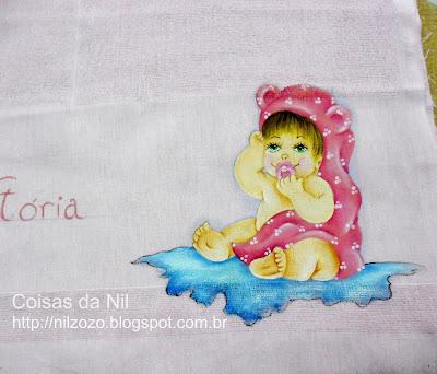 fralda de boca com pintura de bebe menina