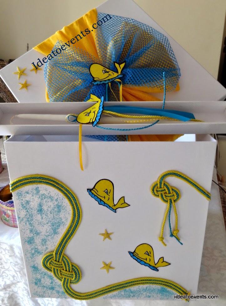 Χειροποίητο κουτί βάπτισης φαλαινάκι φαλαινίτσα αστερίες ναυτικοί κόμποι