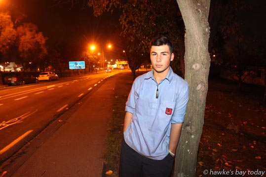 Tiaan Jarman, 15, Havelock North, year 11 Hastings Boys' High School student, was assaulted with a bottle to the head when walking to school after missing his bus, pictured on Karanema Drive, Havelock North, where the assault took place. photograph