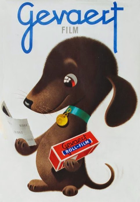 a dachshund in a vintage ad by Donald Brun