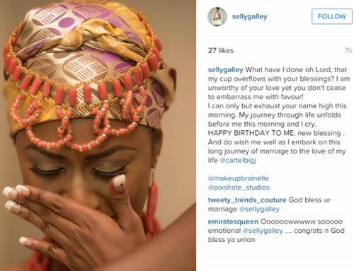 BBafrica Housemate Selly Galley Cartel Big Jay wedding Instagram