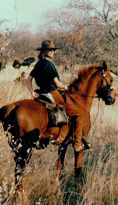 Sophie Neville riding on a game reserve in the Waterberg, South Africa