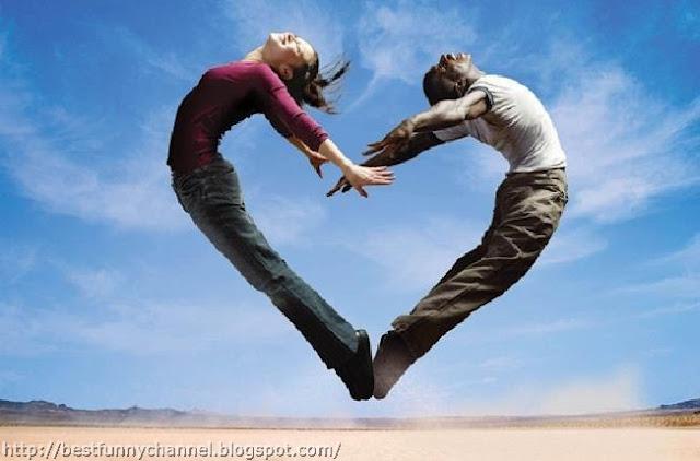 People jump in heart