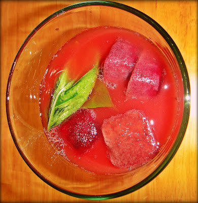 Aguas Frescas - watermelon, basil and iced berries