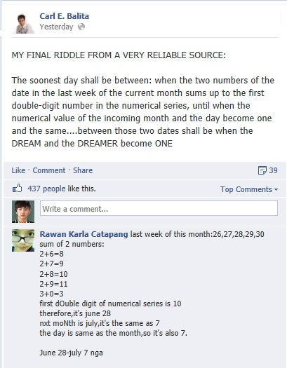Carl Balita Riddle for June 2013 NLE results