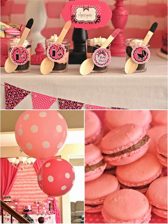 pink and black glam baby shower party summary and printables