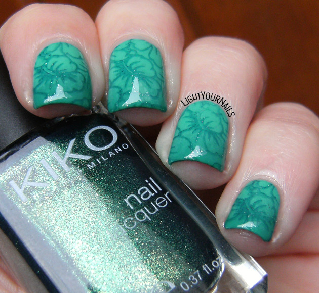Tropical gradient stamping nail art