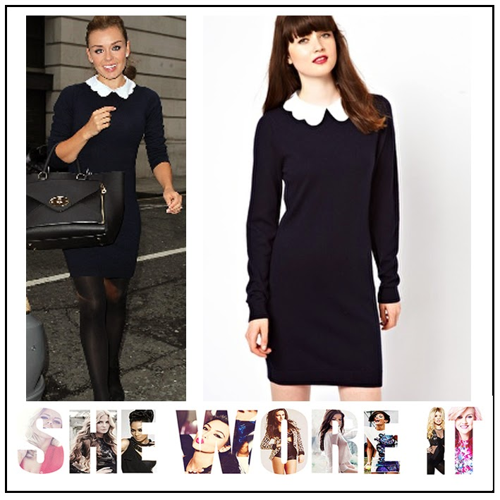 ASOS, Boutique By Jaeger, Collar, Jumper Dress, Katherine Jenkins, Knee Length, Knitted, Navy, Scallop, White Cotton,