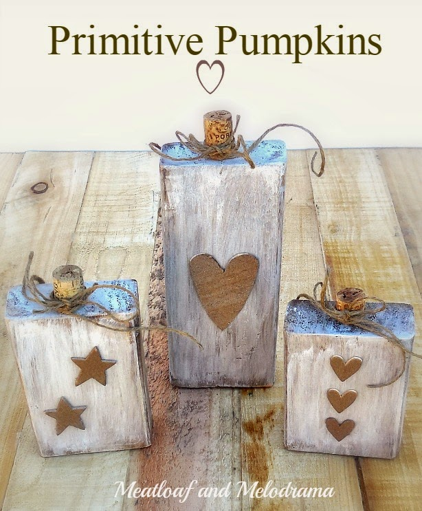 rustic wood block pumpkins with cork stems twine hearts and stars