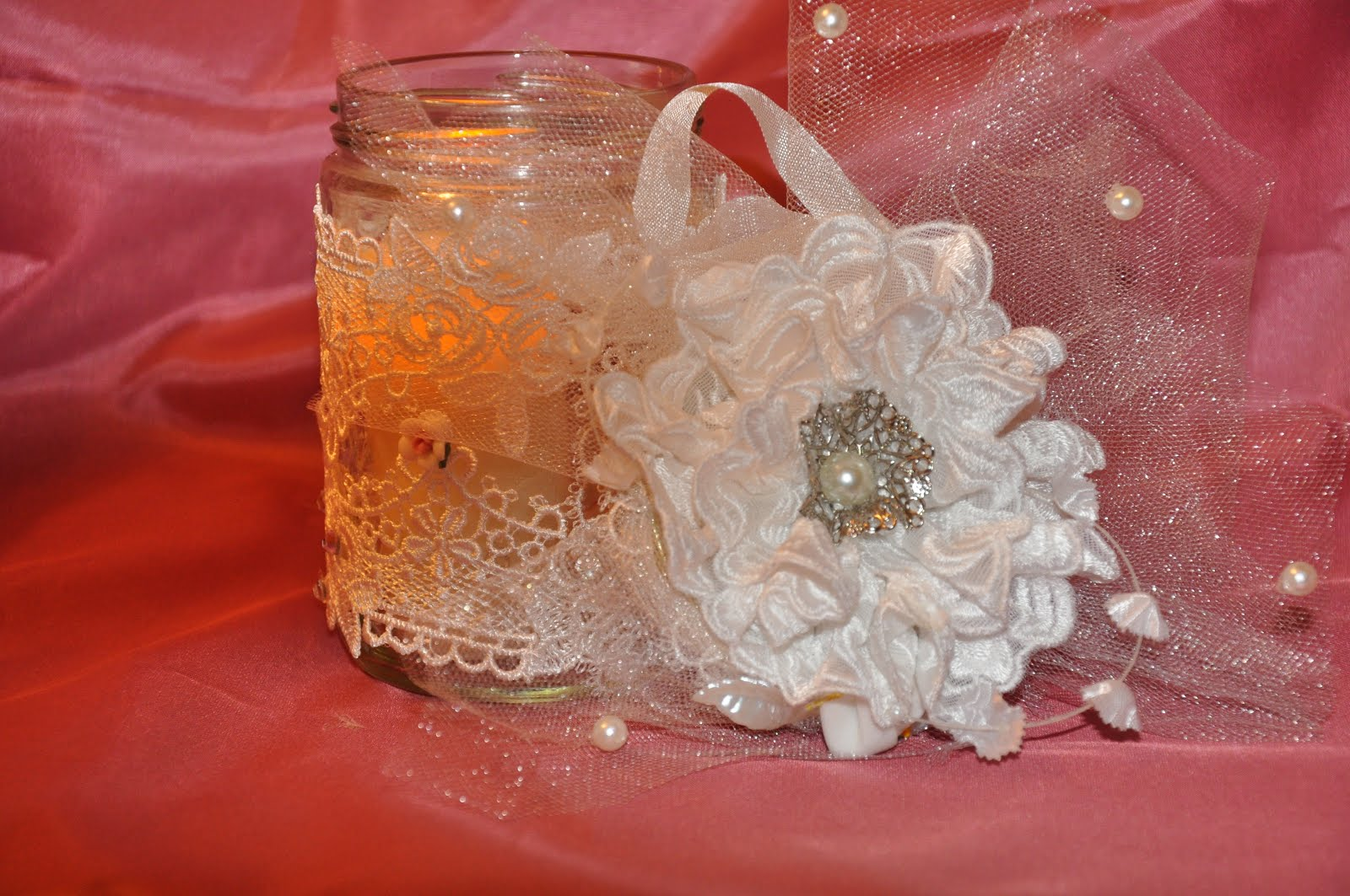 Altered Glass Jar and Handmade Flower