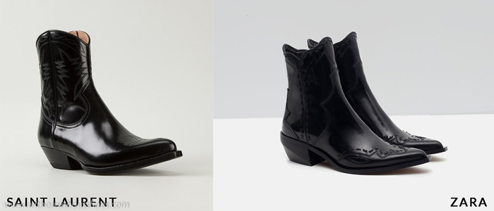 Copia low cost de los botines cowboy de punta de Saint Laurent