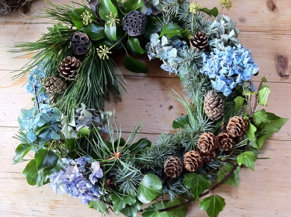 Vintage Christmas wreath by Sheffield Florist Campbell's Flowers.