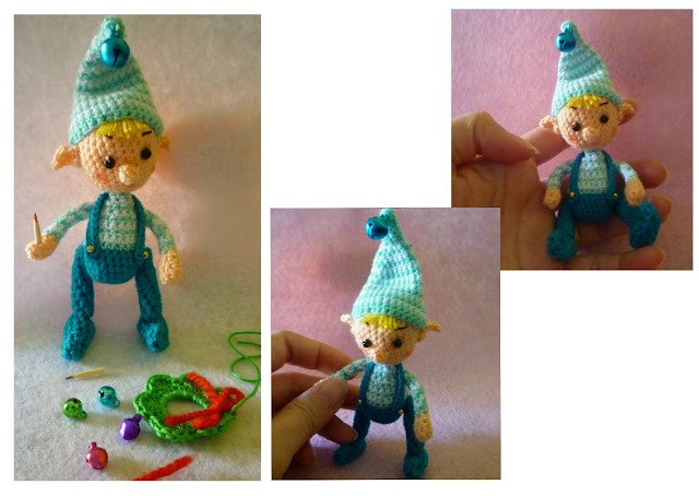 crochet christmas elf blue pattern amigurumi cute gift decorations
