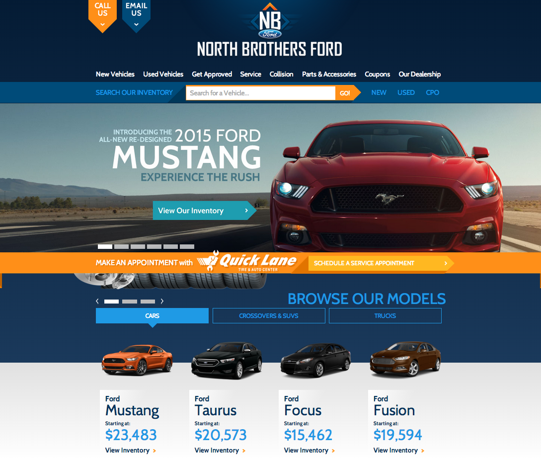 redesigned North Brothers Ford website