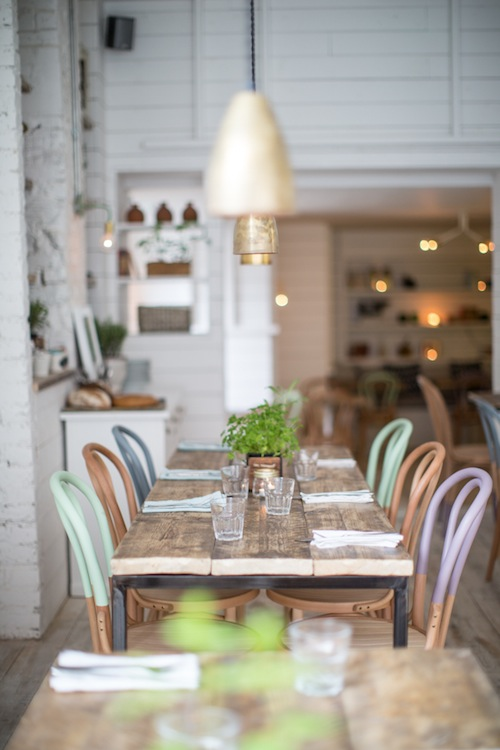 These chairs have been created by Interior Designer Alexander Waterworth Interiors for this cute cafe Hally\u0027s London in Parson\u0027s Green. & Natural Home Design: Pastel Dip Painted Timber Dining Room Chairs