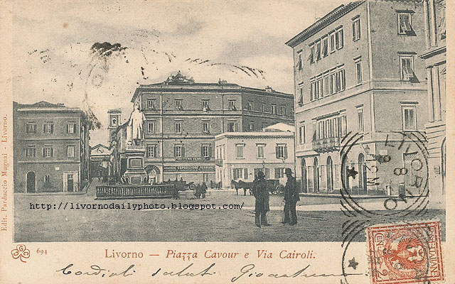 Vintage postcard, Piazza Cavour, Livorno