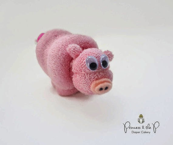 THE ORIGINAL- Washcloth Pig, Diaper Cake, Baby Shower Favors, Easter Basket Stuffer, Valentines Day, Washcloth animal, Farm baby shower