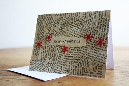 tarjeta de navidad con botones y papel