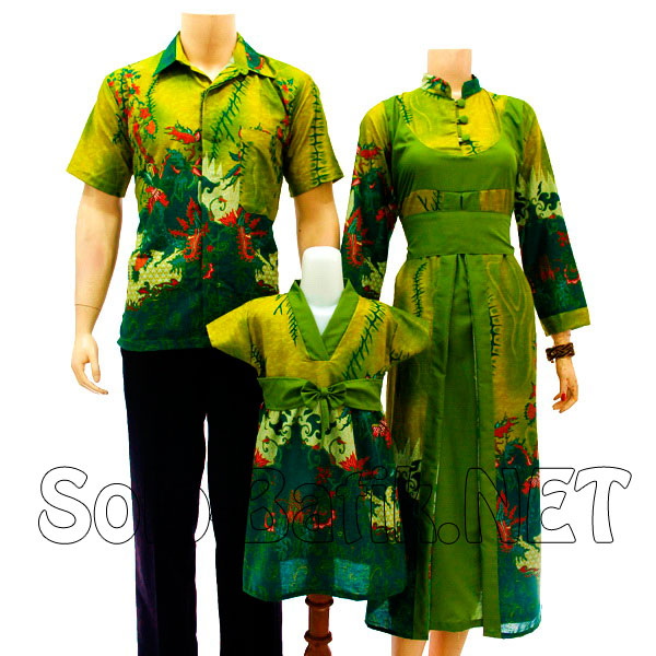 Model gamis batik terbaru Sarimbit E829 hijau model gamis batik