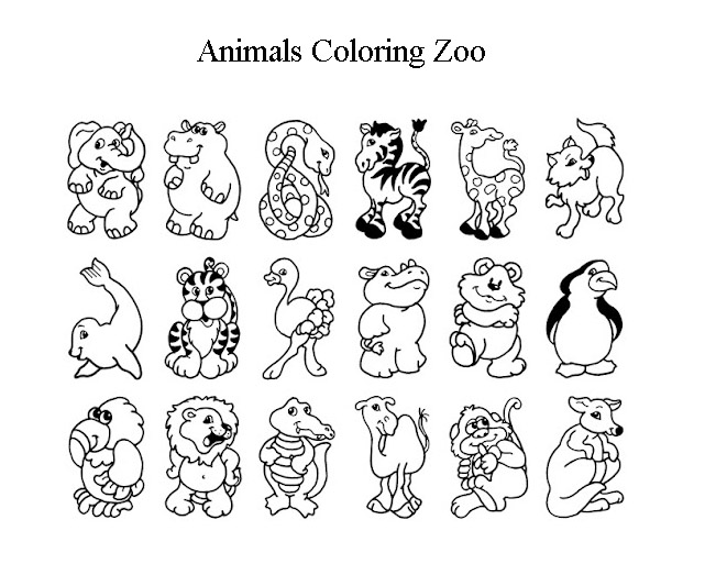 Free Animals Coloring Pages Zoo