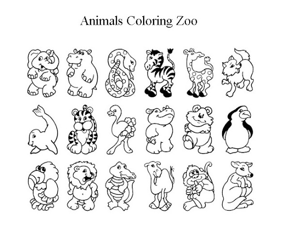 Cute Zoo Animals Coloring Pages