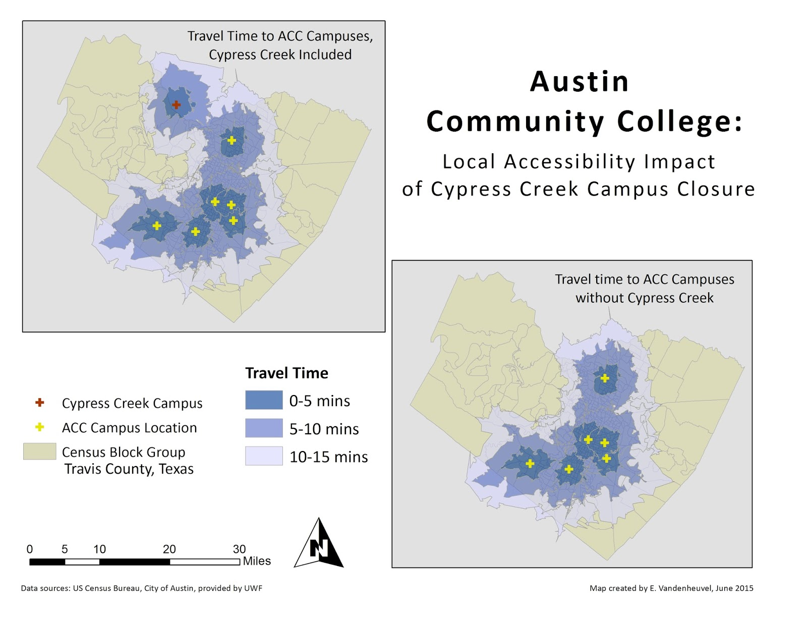 closing of the cypress creek campus of austin community college in travis county texas the yellow crosses are the other acc campuses with the map on