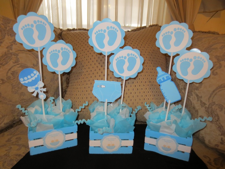 Centros de mesa para baby shower ni o for Mesa baby shower nino