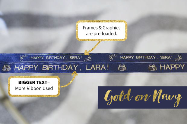 Some test prints using the gold on navy ribbon cartridge and the Epson LabelWorks Printable Ribbon Kit. Print your own ribbon at home for gifts, crafts and parties. A tutorial is included, in addition to a thorough review and tips.